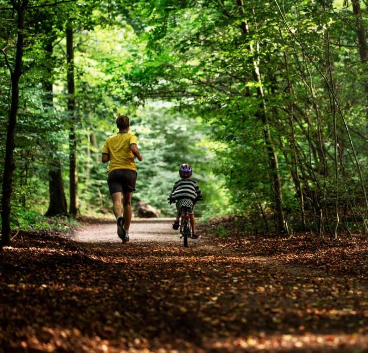 Active dad and child in the forest by Aarhus
