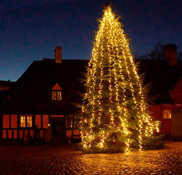 Christmas tree on the square in Den Gamle By - Old Town Museum